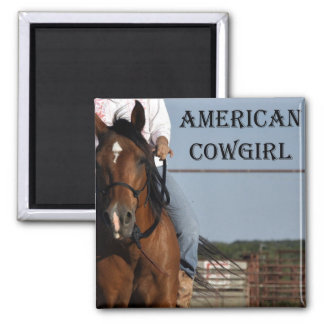 "Girl With Horse ""American Cowgirl"" Square Magnet."" Magnet"