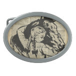 Girl With Horse,old dictionary page,Horse riding Belt Buckle
