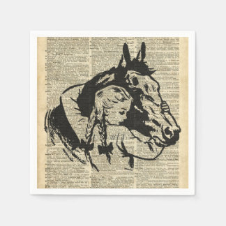 Girl With Horse,old dictionary page,Horse riding Napkin