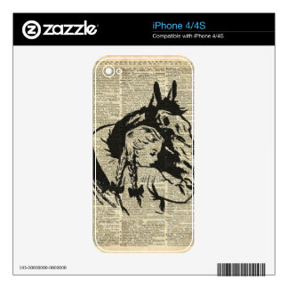 Girl With Horse,old dictionary page,Horse riding Skins For iPhone 4S
