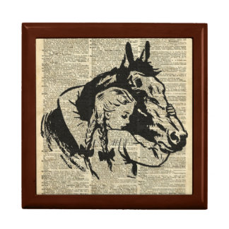 Girl With Horse,old dictionary page,Horse riding Trinket Boxes