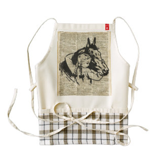 Girl With Horse,old dictionary page,Horse riding Zazzle HEART Apron