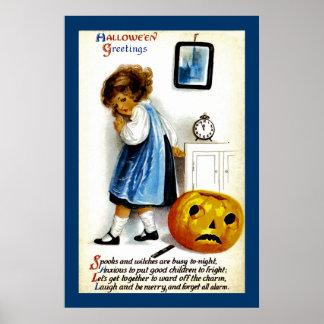 Girl with Jack o' Lantern Poster