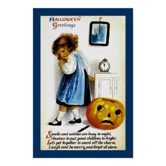 Girl with Jack o' Lantern Poster