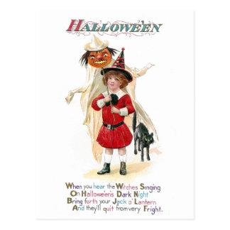 Girl with Jack O'Lantern on Pole Vintage Halloween Postcard