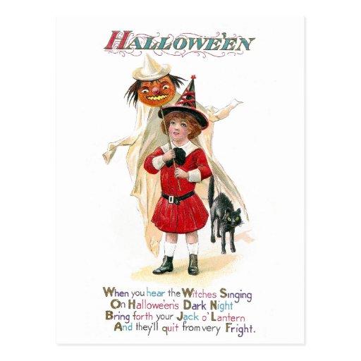 Girl with Jack O'Lantern on Pole Vintage Halloween Post Cards