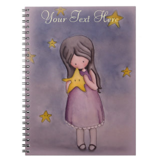 Girl with Kawaii Star Customizable Notebook