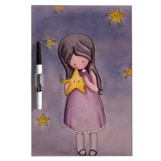 Girl with Kawaii Star Dry Erase Board