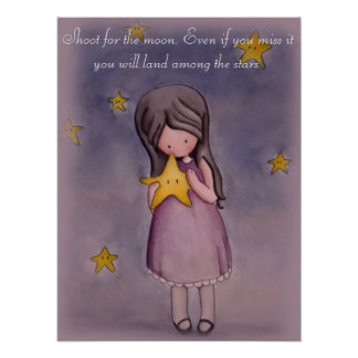 Girl with Kawaii Stars Inspirational Poster