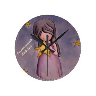 Girl with Kawaii Stars Nursery Art Clock