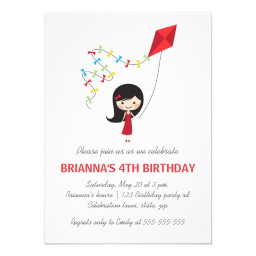 Girl with kite girls birthday party personalized announcements