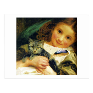 Girl with Kitten, Sophie Anderson Postcard