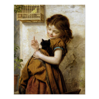 Girl with Kitten, Sophie Anderson Poster