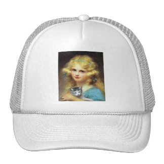 Girl with Kitten - Vintage Art - by E. Cabane Trucker Hat