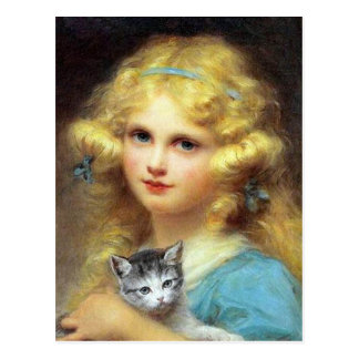 Girl with Kitten: Vintage Painting by E. Cabane Postcard