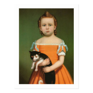 Girl with Kitten, William Thompson Bartoll Postcard