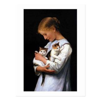 Girl with Kittens, Albert Anker Postcard