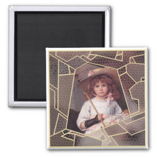Girl with Lace Parasol Magnet