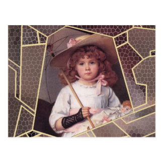Girl with Lace Parasol Postcard