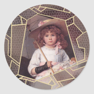 Girl with Lace Parasol Classic Round Sticker