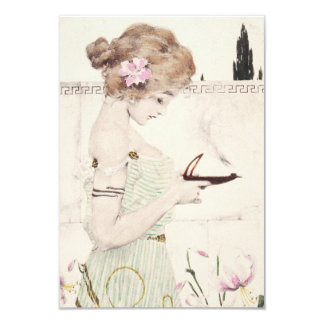 Girl with Lamp Art Nouveau Invitations