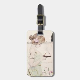 Girl with Lamp Art Nouveau Luggage Tag