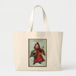 Girl with Lantern and Wreath Vintage Xmas Canvas Bag