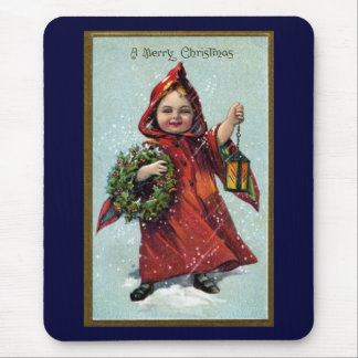 Girl with Lantern and Wreath Vintage Xmas Mouse Pad
