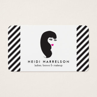 Girl with Lashes Black and White Stripes Beauty Business Card
