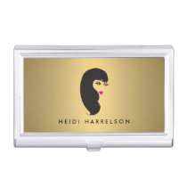 Girl with Lashes on Faux Gold Beauty Card Case