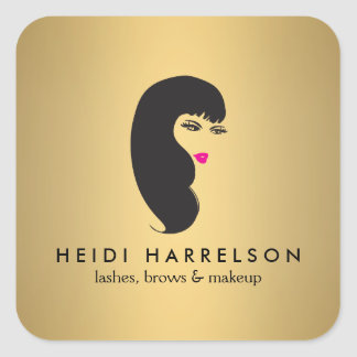 Girl with Lashes on Faux Gold Stickers