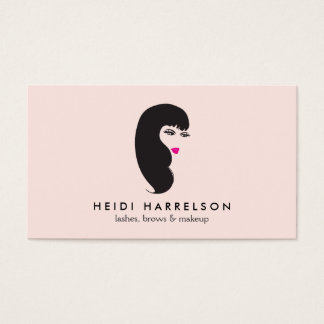 Girl with Lashes on Pink Beauty Business Card