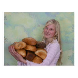 Girl with loafs of bread post card