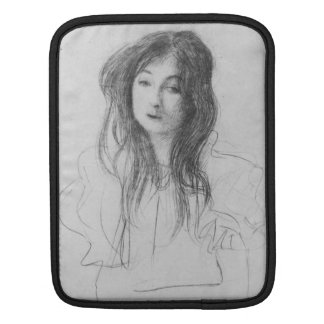 Girl with long hair by Gustav Klimt Sleeves For iPads