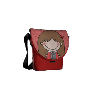 Girl with Long Straight Hair (RED) Courier Bags