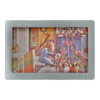 Girl with Loom and Flowers Rectangular Belt Buckle