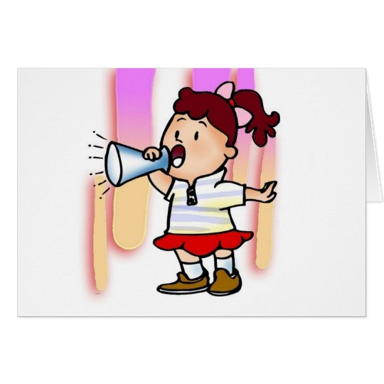 Girl With Megaphone Card