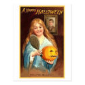 Girl With Mirror and Pumpkin Post Card