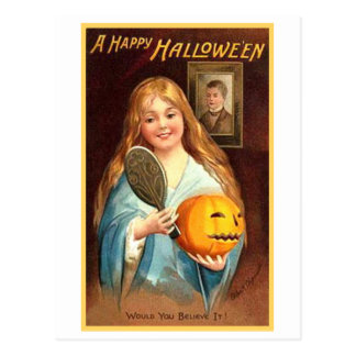 Girl With Mirror and Pumpkin Postcard