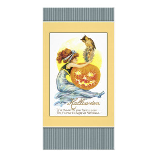 Girl with mirror, pumpkin and owl photo card