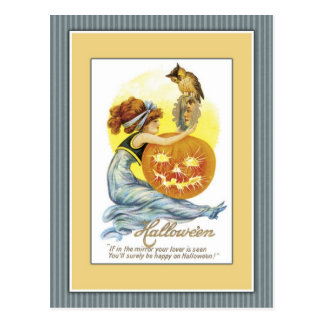 Girl with mirror pumpkin and owl postcards