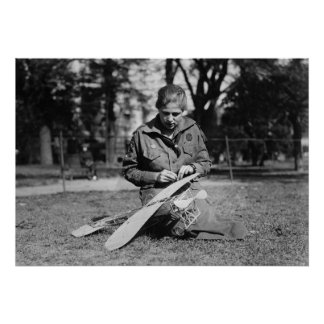 Girl with Model Airplane, 1920s Print