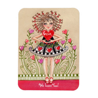 Girl with Mother's Day Heart Magnet