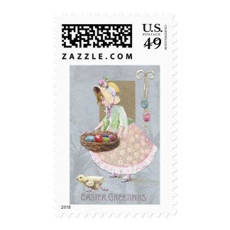 Girl with Nest of Easter Eggs Vintage Postage Stamp