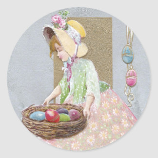 Girl with Nest of Easter Eggs Vintage Round Sticker