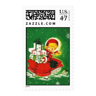 Girl with Packages Merry Christmas Postage