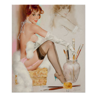 Girl with Painting Pin Up Art Poster