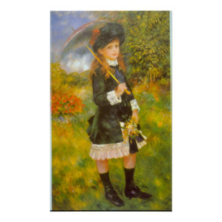 Girl with Parasol by Pierre Renoir Poster