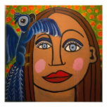 Girl with Parrot by Genevieve & John Art Photo