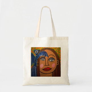 Girl with Parrot by Genevieve John Bags